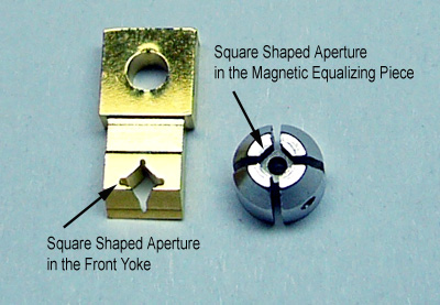 square shaped aperture in the front yoke and square shaped aperture in the magnetic eualizing piece